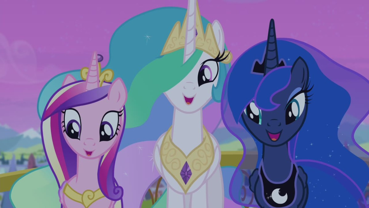 Three of the currently four princesses of Equestria. No queens, just princesses.