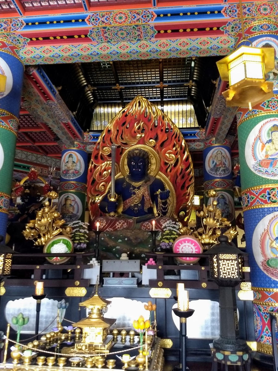 Inside the Great Peace Pagoda, the main object of temple worship is Fudō Myōō, the angry Buddha.