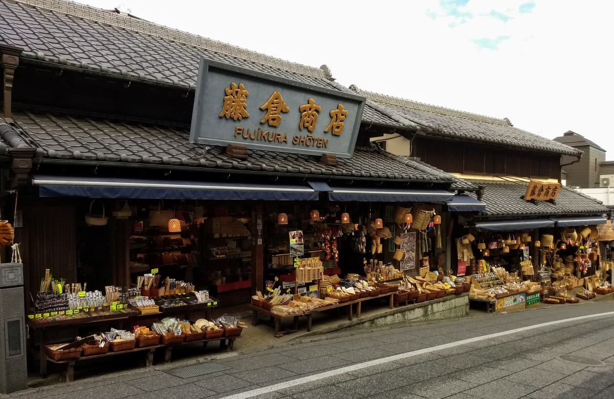 Charming shops on Omotesando Street.