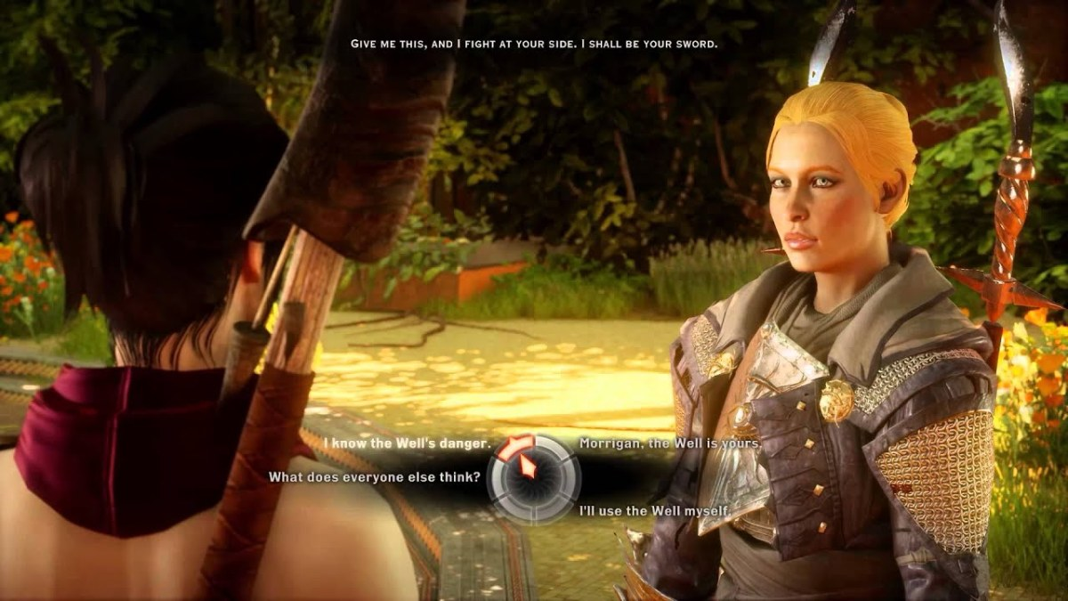 Morrigan argues with Lavellan at the Well of Sorrows.