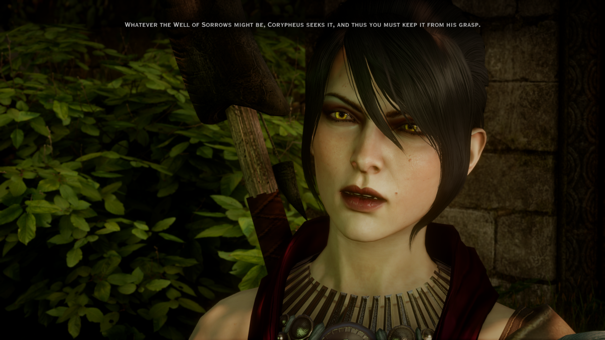 Morrigan being annoying at the temple of Mythal.