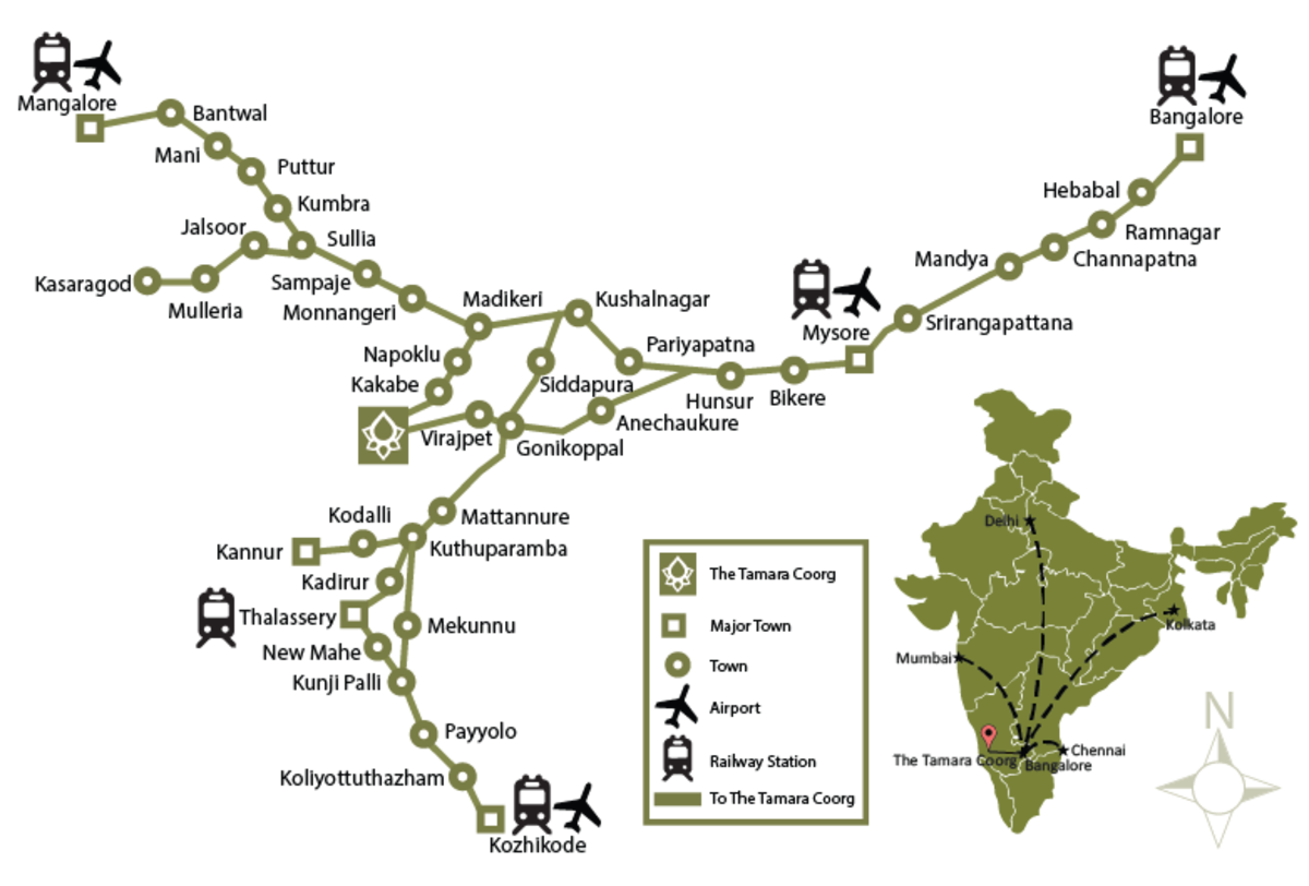 Location and Route Map for Tamara Coorg Resort