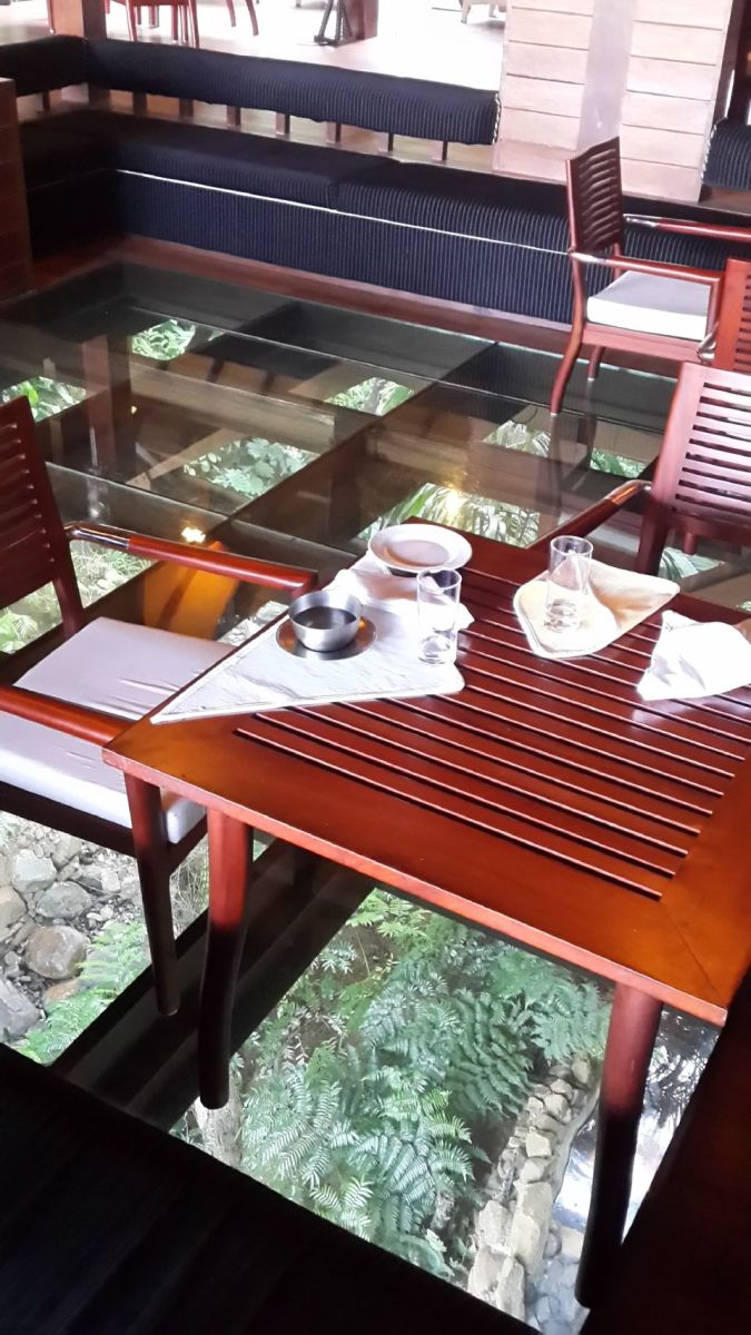 The Falls - restaurant with glass floor.