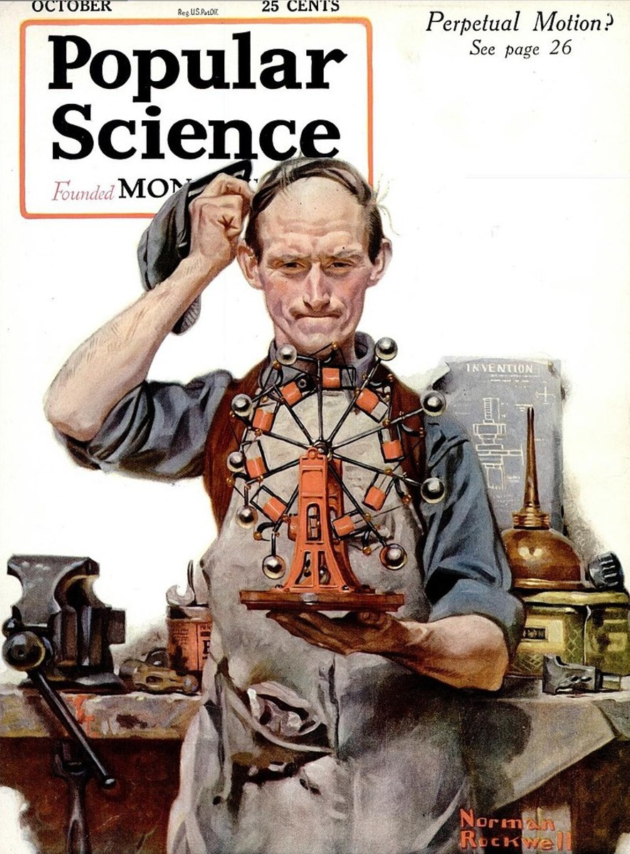 Norman Rockwell depicted a garage inventor with an unbalanced wheel in 1920.
