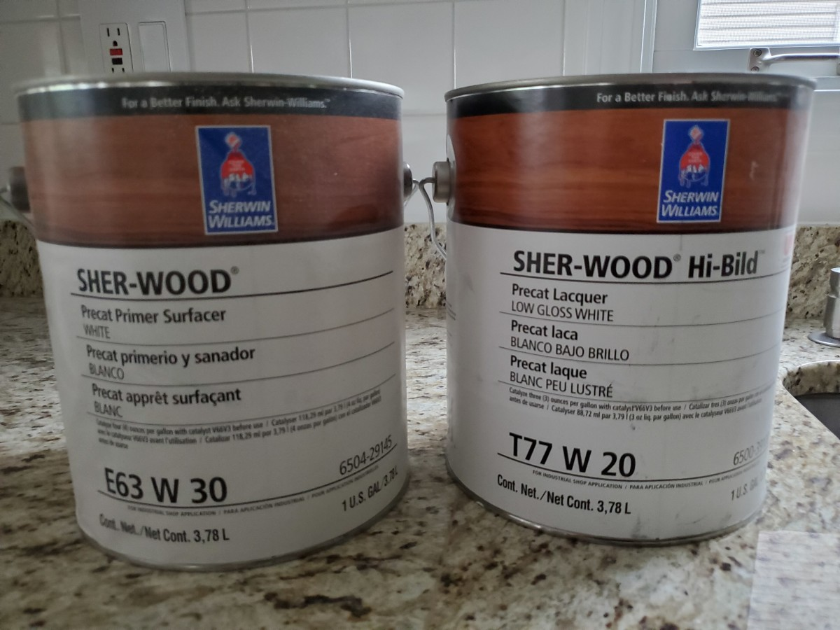 The Sher-Wood Hi-Bild lacquer and Primer Surfacer I use on cabinets.