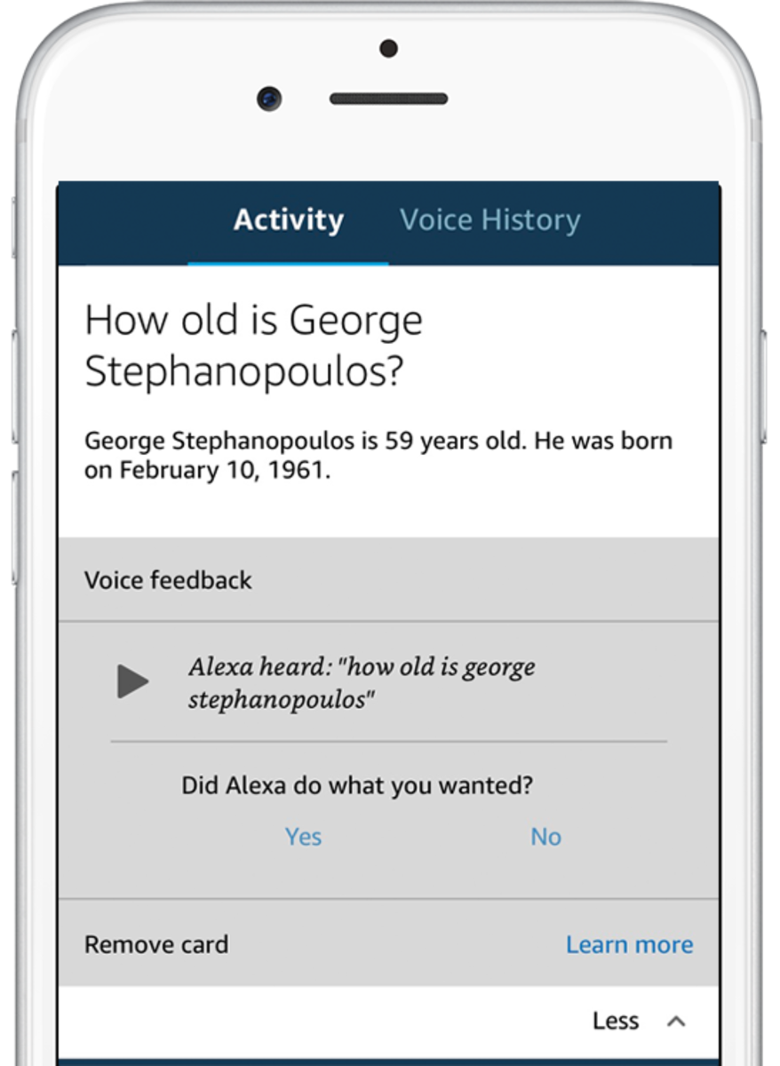 You can review your voice history in the Alexa app for Android and iOS