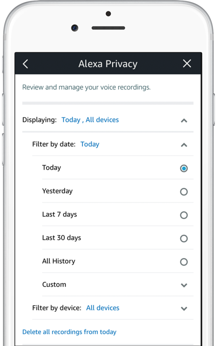 You can choose what voice recordings to delete in the Alexa app