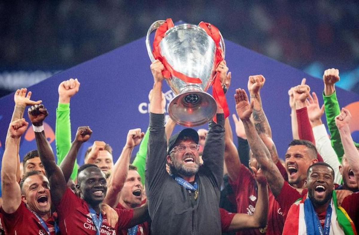 Jurgen Klopp and team after winning the UEFA Champions League.