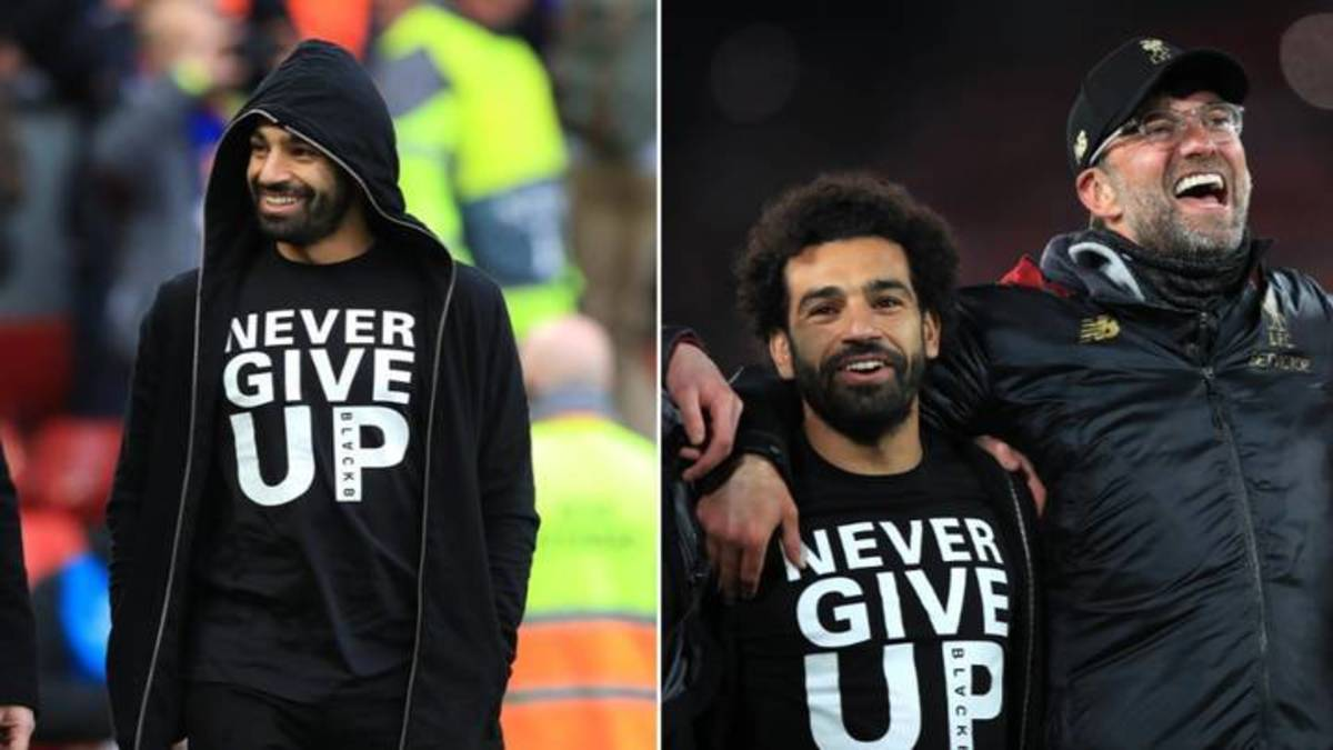 "Mo Salah wearing the ""never give up"" shirt in one of the matches he was sidelinded."