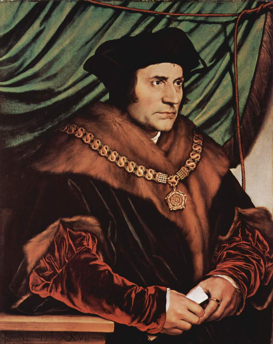 "SIR THOMAS MORE WROTE ""UTOPIA"" (PAINTING BY HANS HOLBEIN)"