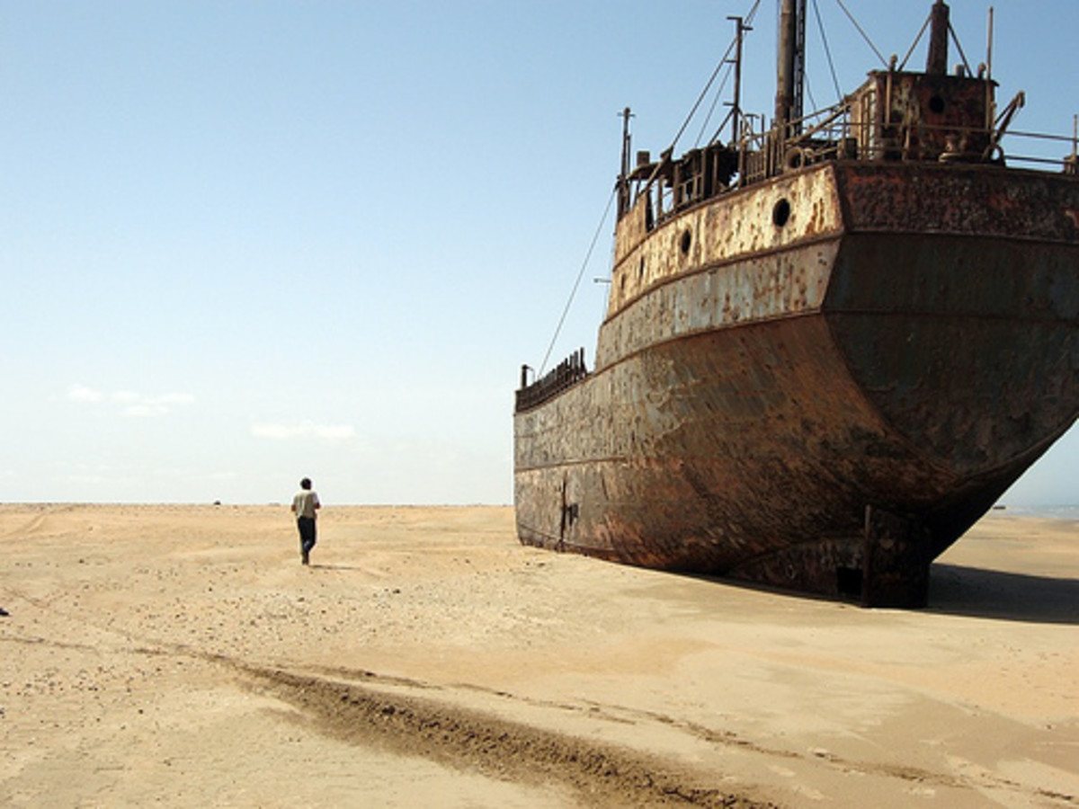 Shipwreck in the desert at the Namibian skeleton coast