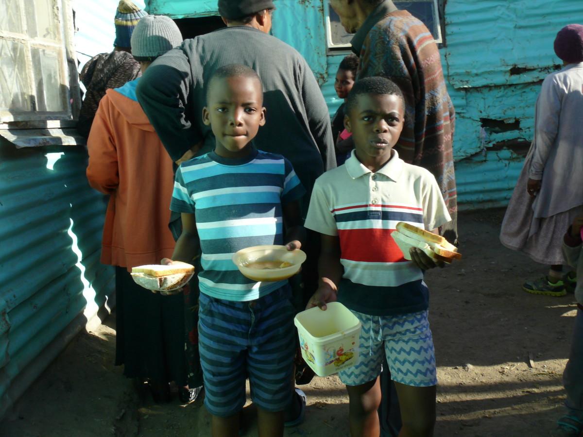 Soup kitchen in Parkridge informal settlement, East London, South Africa