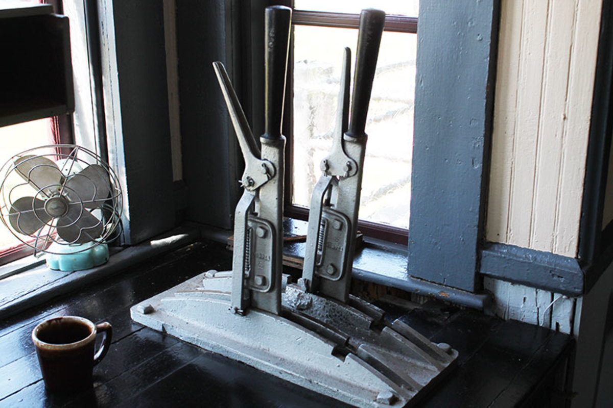 Levers used to operate the tower signals