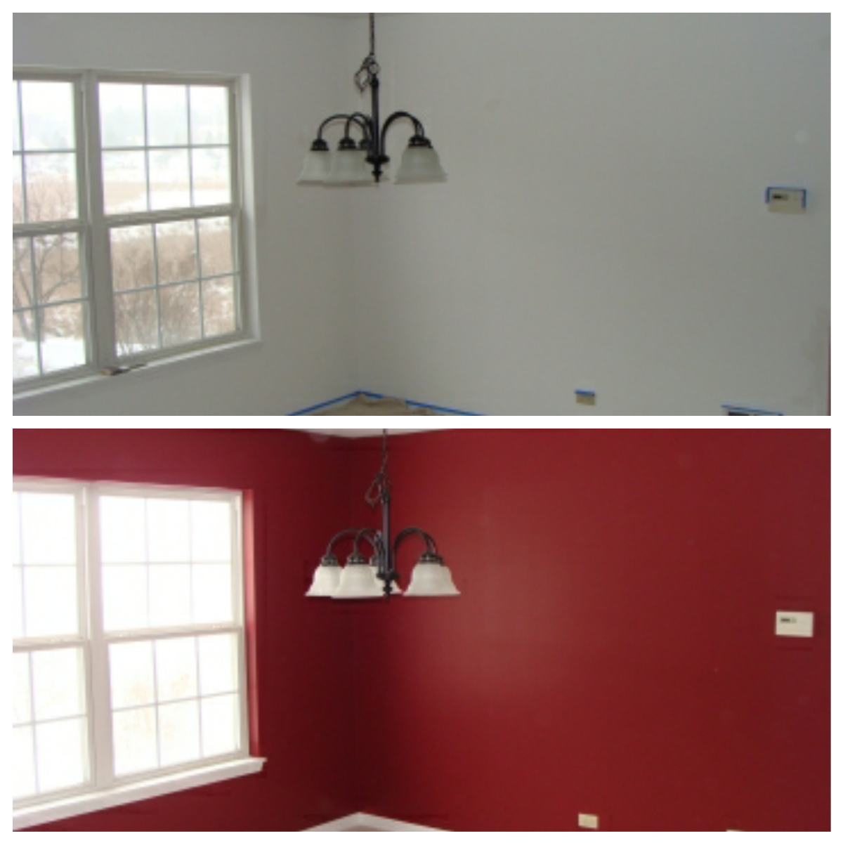 A dining room I painted with Sherwin Williams color Heartthrob.