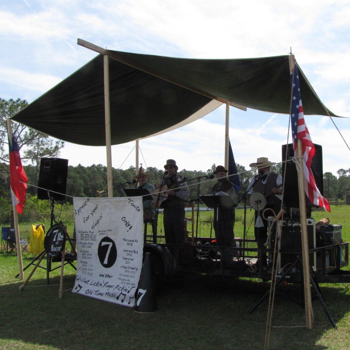 The band that played was called 7 Lbs of Bacon Mess Band. Their specialty is Civil War tunes so they played quite a few Stephen Foster songs and well-known songs of the 1860s. They played for a dance in the evening too.