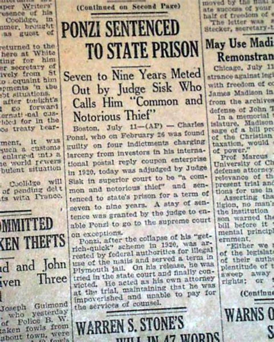 Newspaper article about Charles Ponzi going to jail