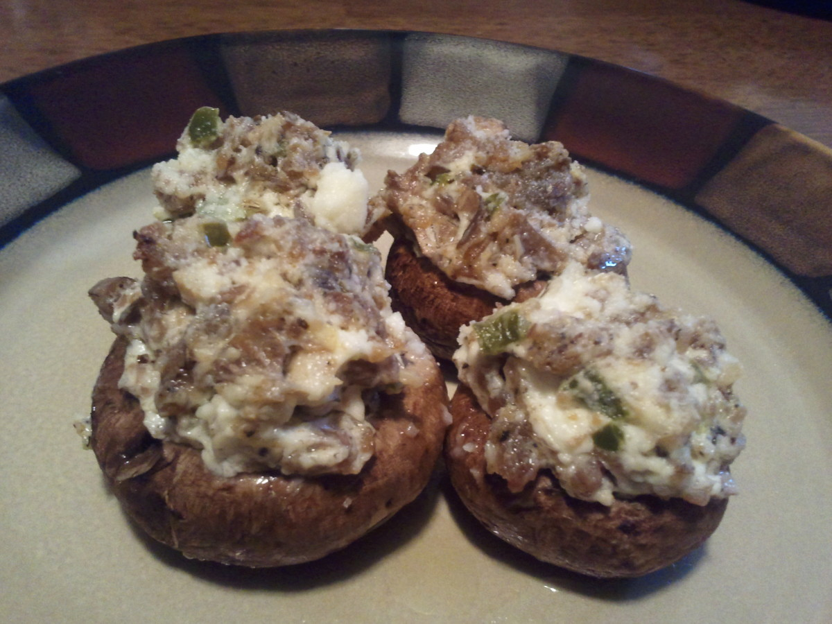 Here are the savory sausage stuffed portabella mushrooms ready to eat.