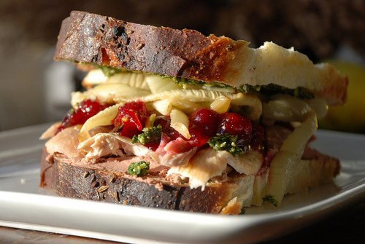 Fancy turkey sandwich with leftover cranberries, broccoli, and more!