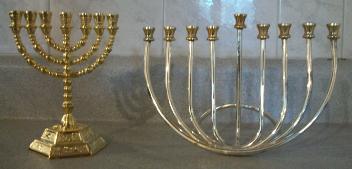 Regular Hebrew Menorah vs Hanukkiah
