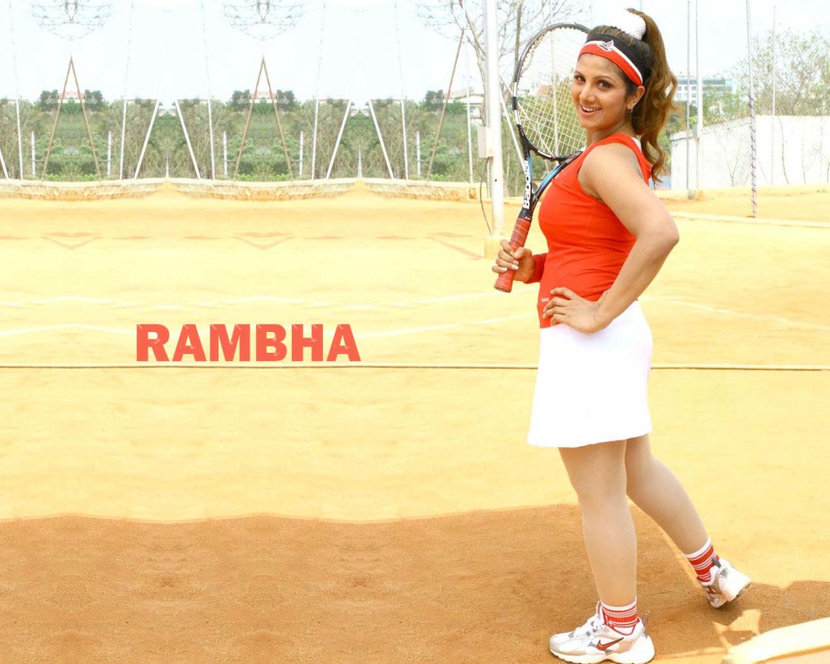 Rambha playing tennis