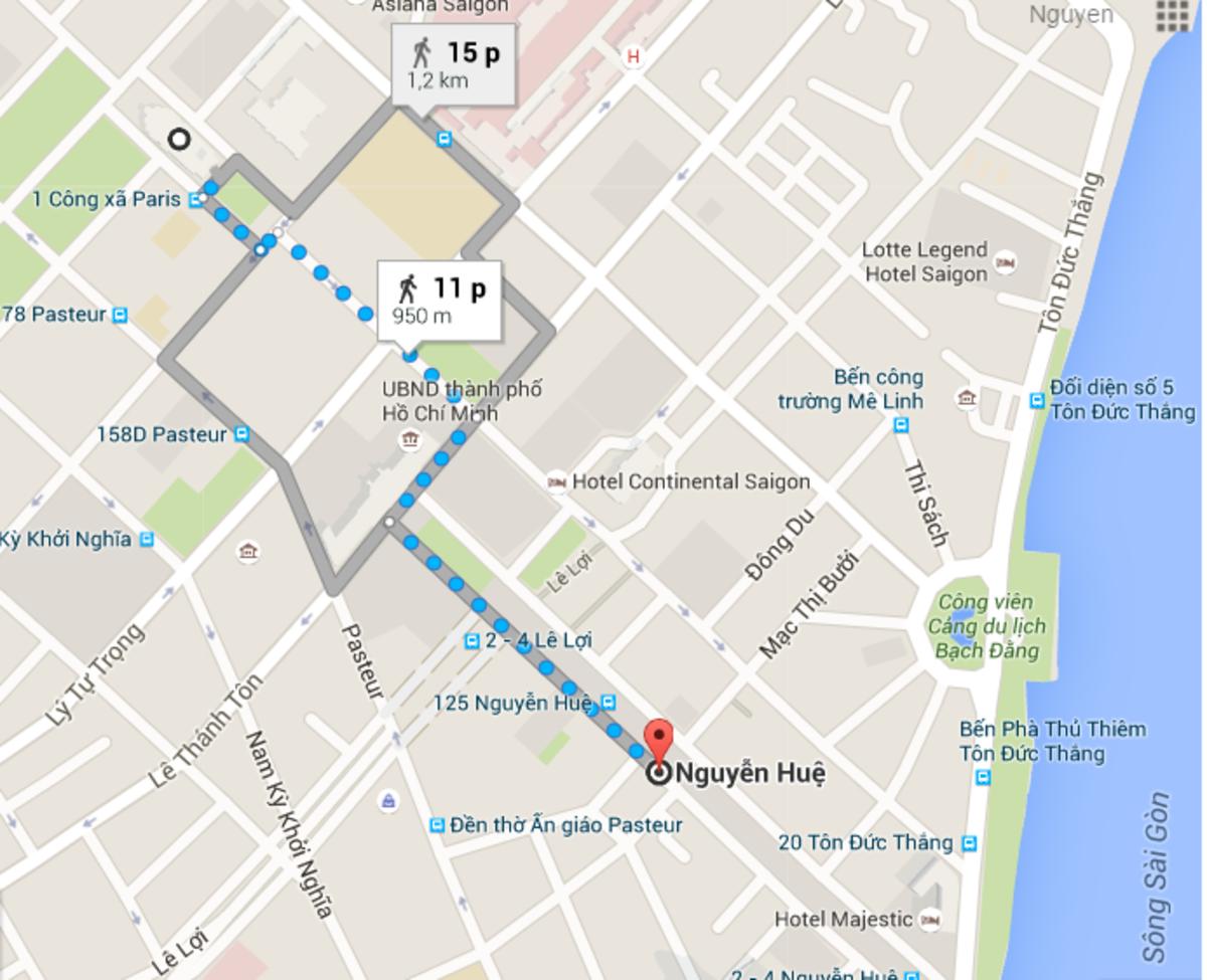 Walking route (Photo: Google Map)