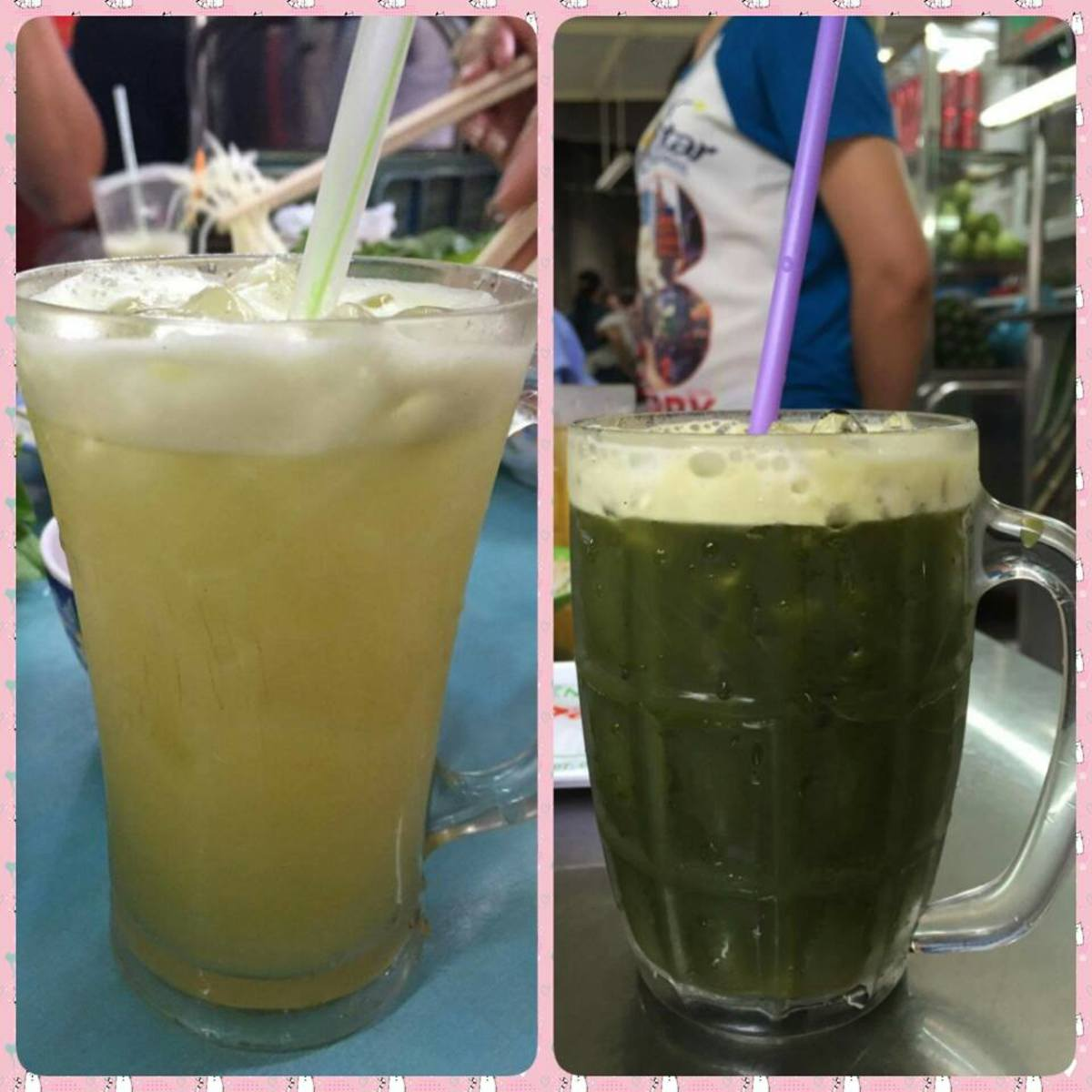 Sugar Cane Juice and Centella Smoothie Both are sold at the same place on the sidewalk.