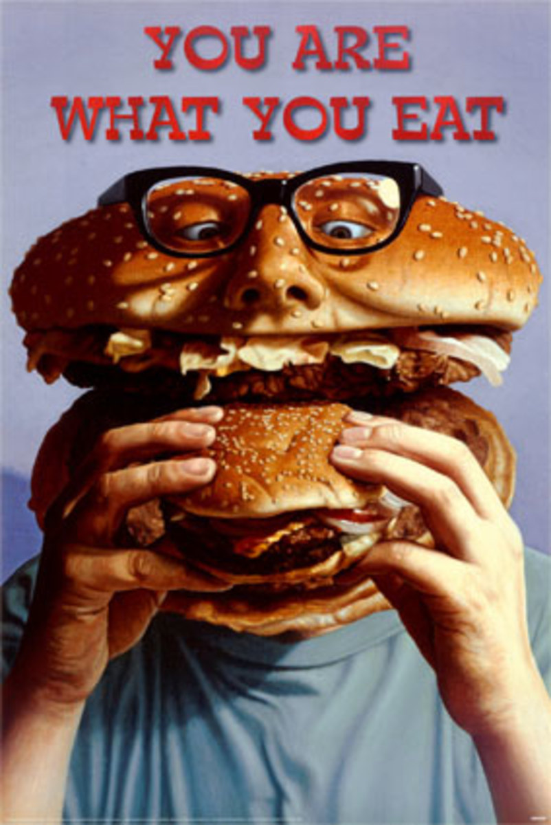 You are what you eat  poster with hamburger person eating a hamburger