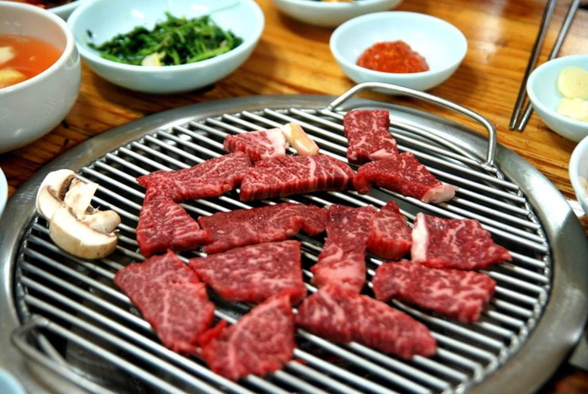 pieces of boneless galbi cooking
