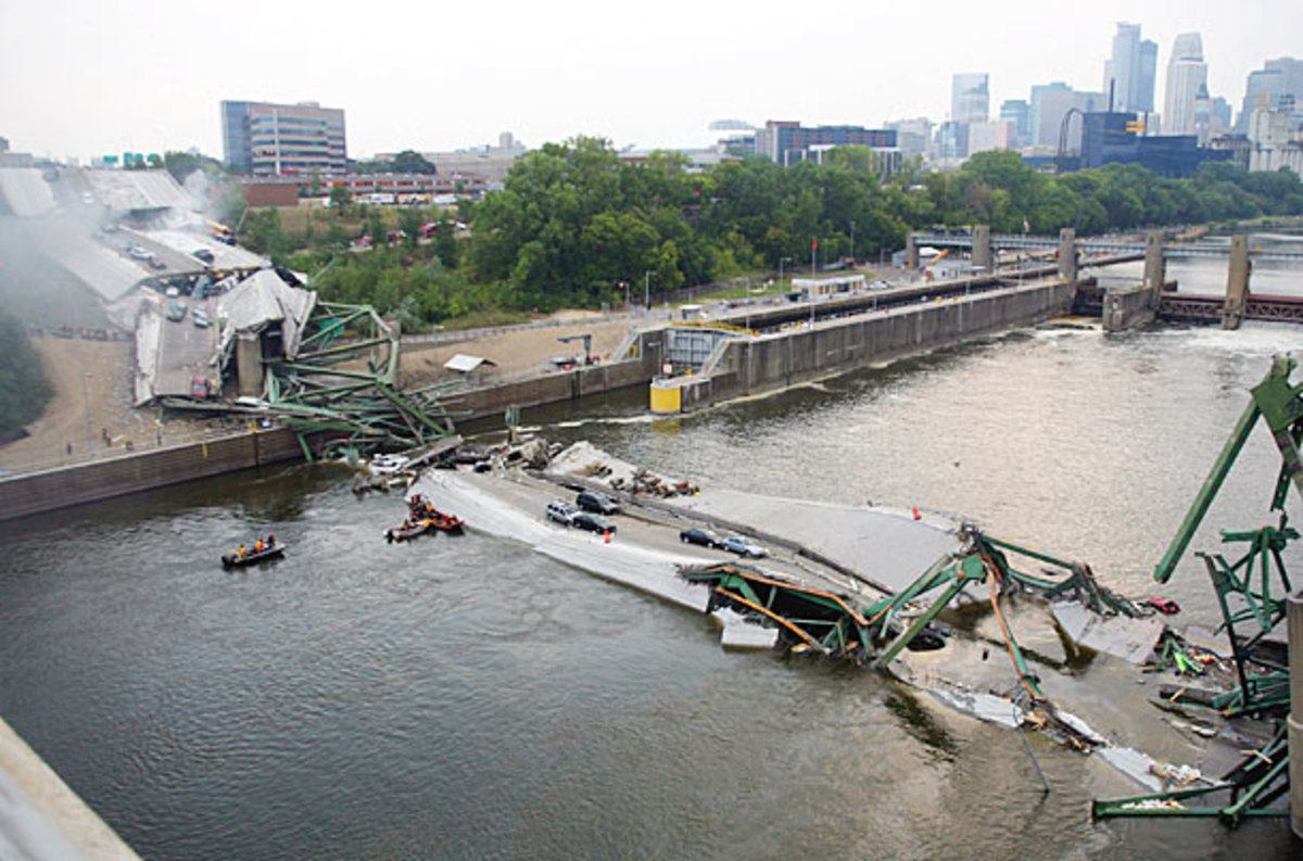 The most infamous bridge collapse in the US was due to the stretching of the New Madrid Fault Zone.