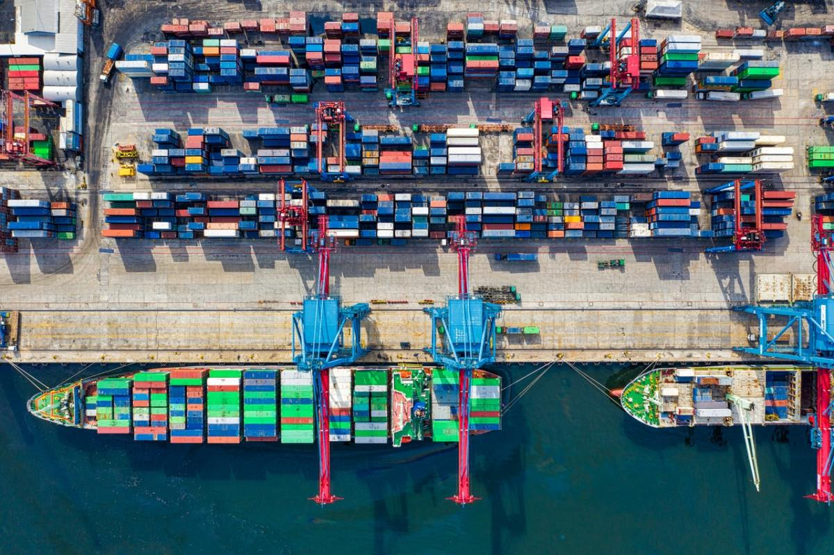 Birds-eye view photo of freight containers.