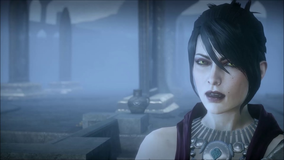 Morrigan explores the other side of the mirror with the Inquisitor.