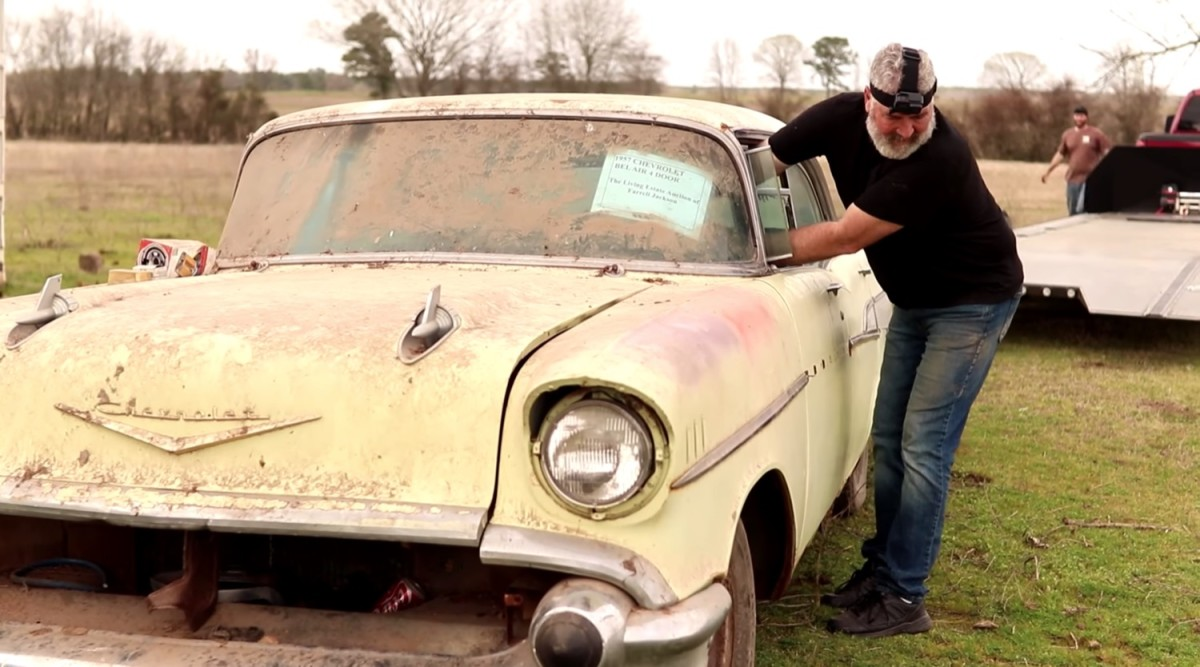 This is NOT me cleaning  this '57 Chevy.