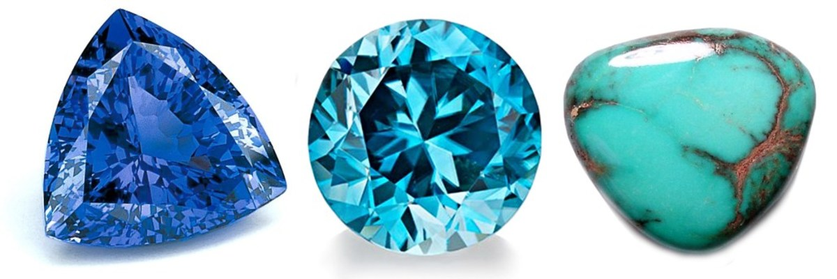 Pictured above from left to right are tanzanite, zircon, and turquoise.