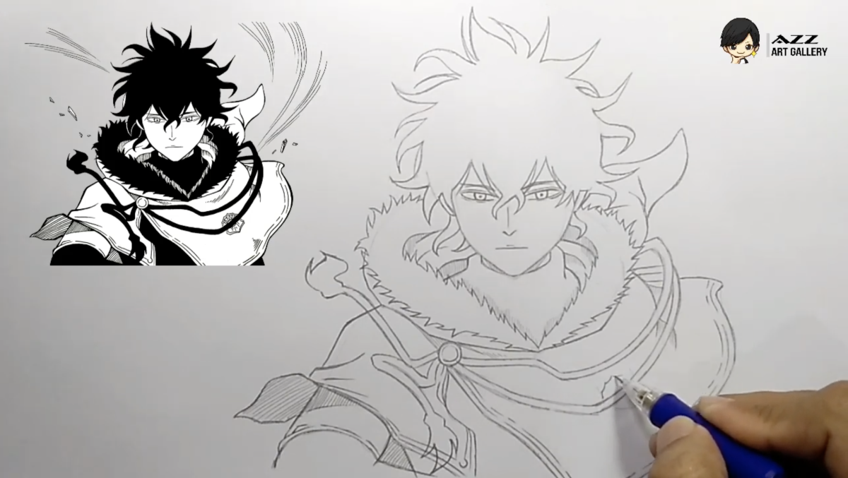 Start drawing with a reference material (Yuno from Black Clover)