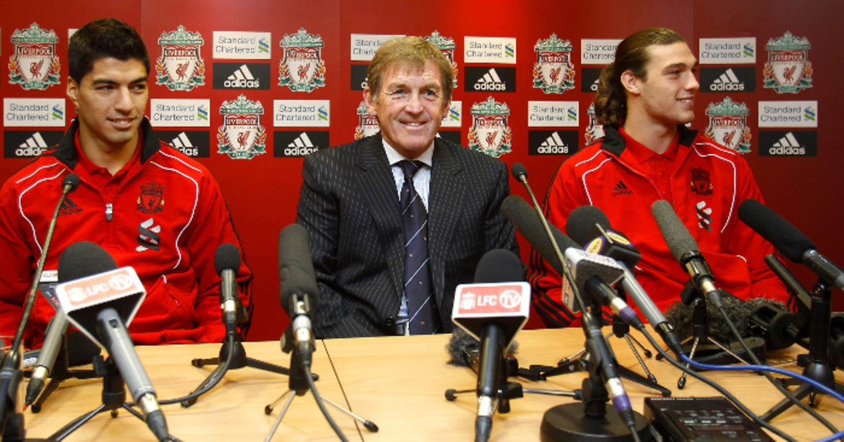 Caretaker Manager, Kenny Dalglish with his new signings, Andy Carroll & Luis Suarez.