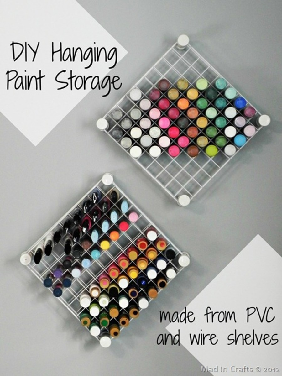 Create a wall shelving unit for acrylic paints with PVC and wire shelves