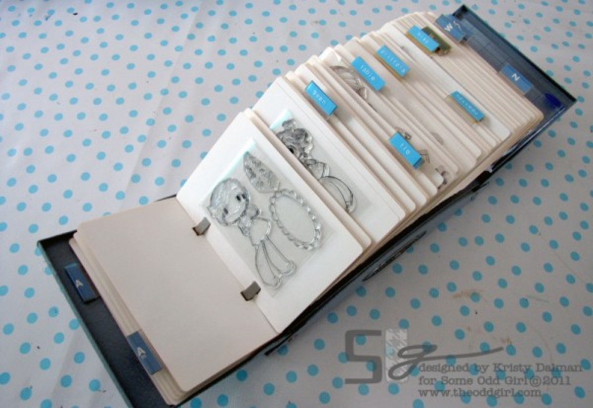 Use a Rolodex to store small stamps by category. You can sometimes find these in your local thrift store.Click to get complete project.