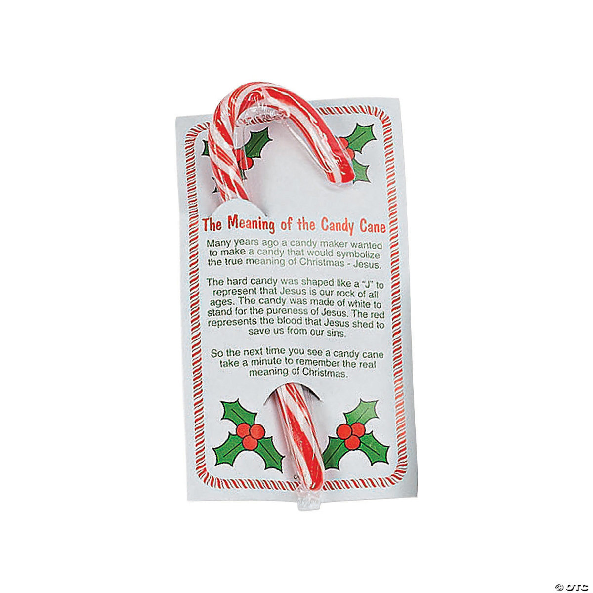 Candy canes are often handed out with cards that explain their religious significance.