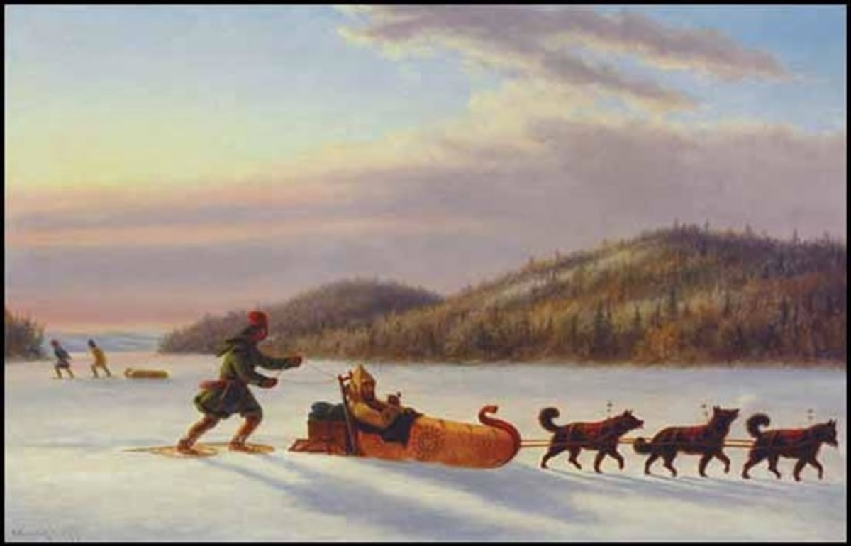 An 1840s oil painting of a fur trader using a dog sled pulled by 3 dogs. Dog sleds have been used for over a thousand years.