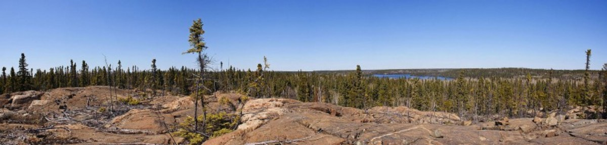 Panorama of Canadian Shield geography in the Flin Flon, Manitoba, region. Big Island Lake is in the background.