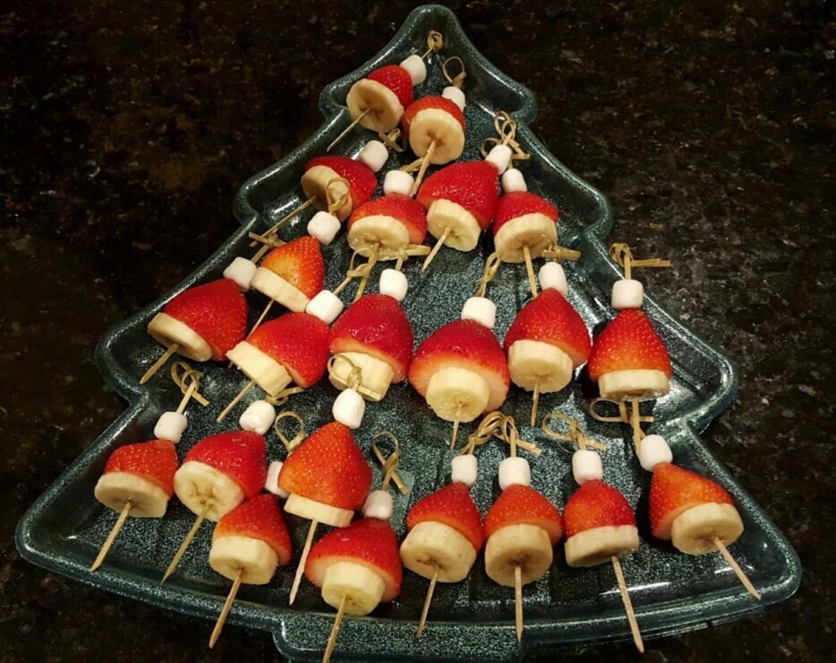 Fruit Santa hats make a fun Christmas dessert!