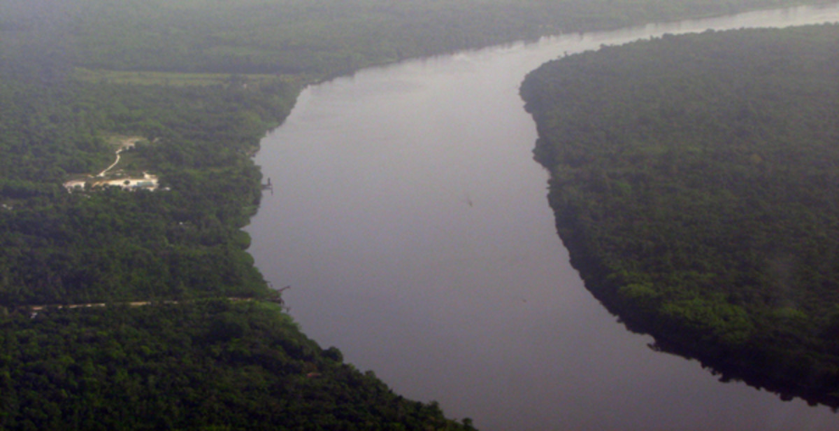 The mighty Amazon river as photographed by Vedanarayan sir from air. It was to be the venue of a wonderful leela of the Lord.