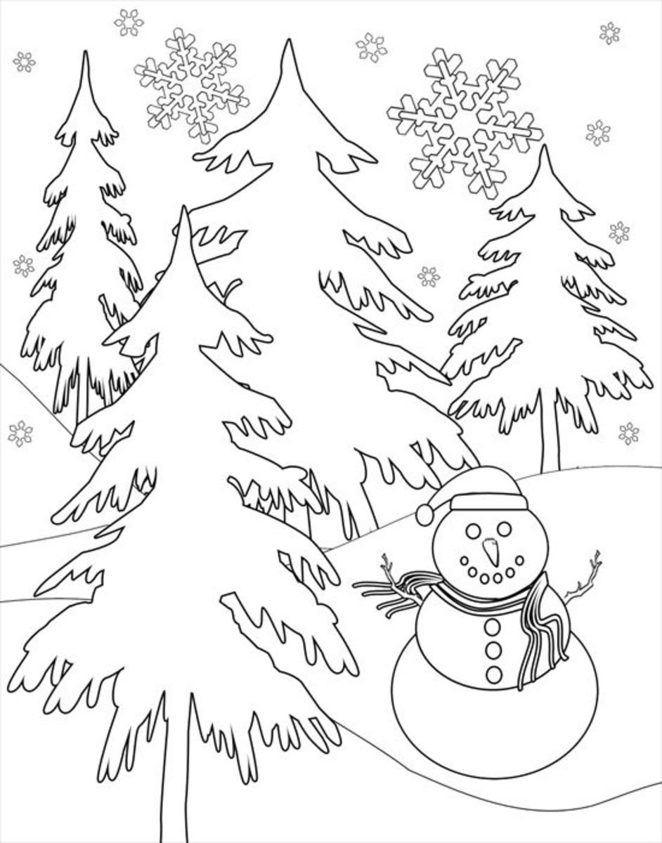 Printable Winter Snow Scene Coloring Image