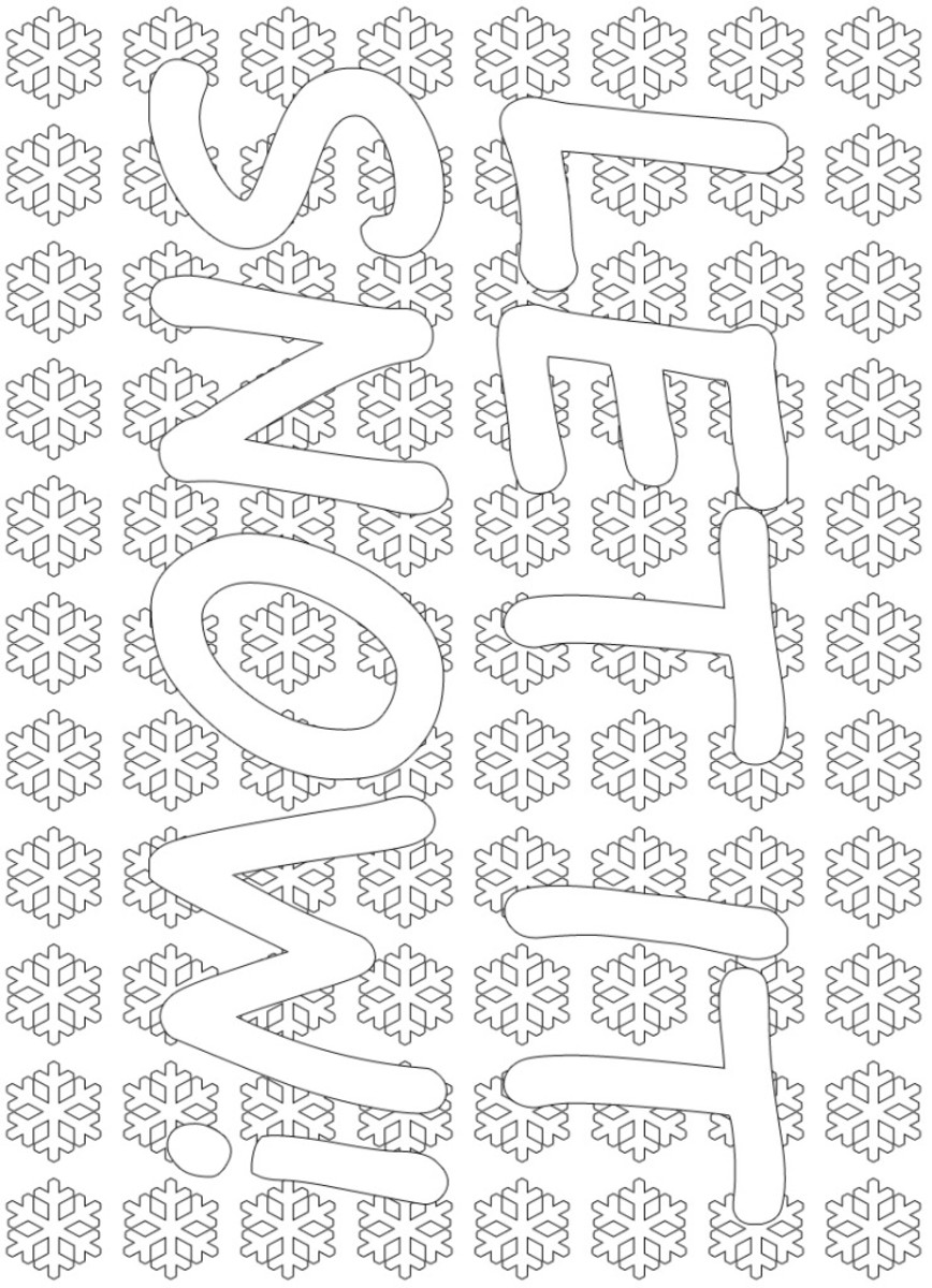 Let It Snow - Winter coloring page large.