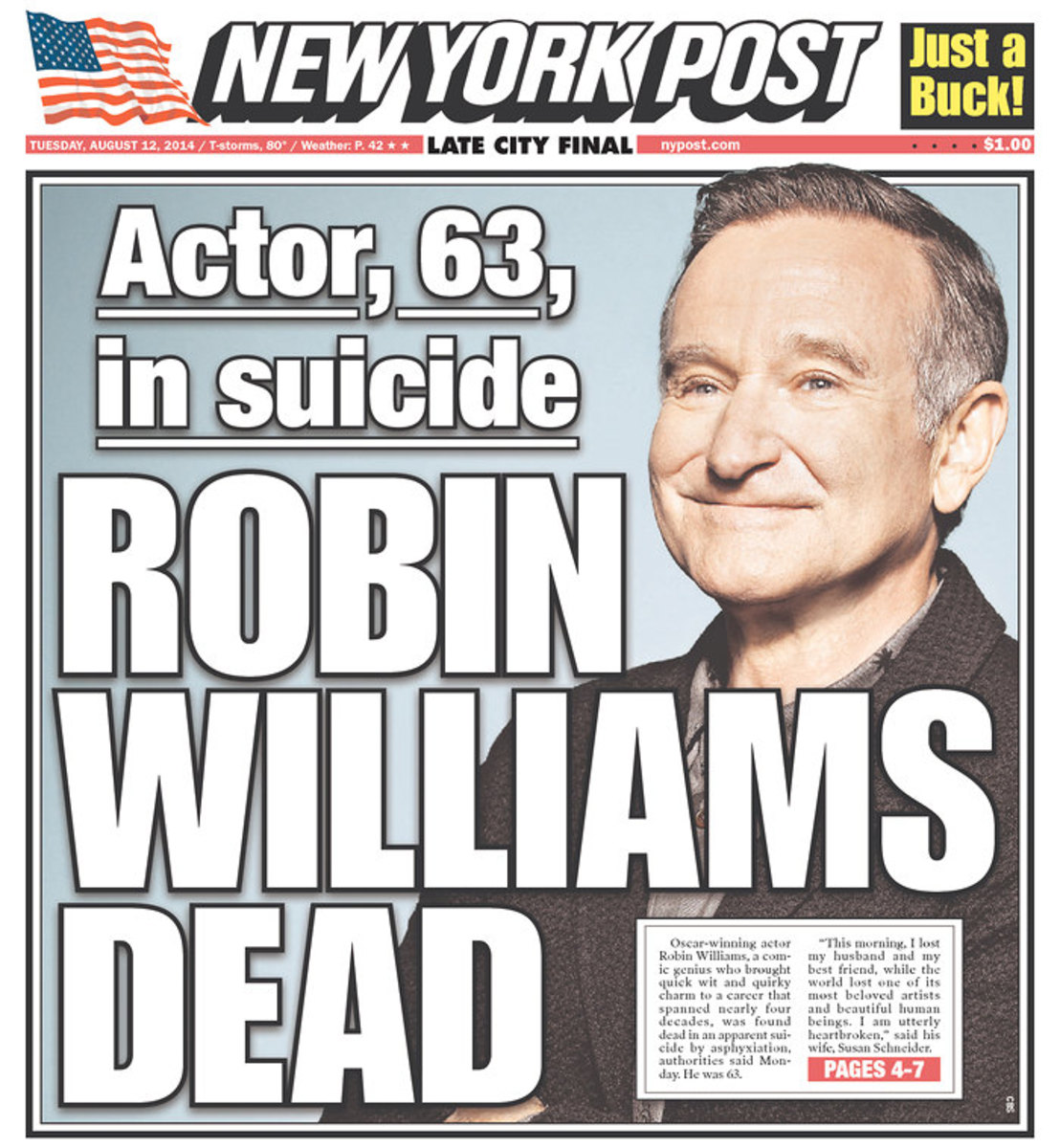 NY Post story about death of Robin Williams