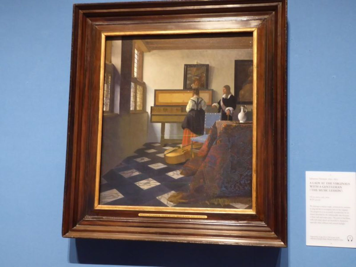 """""""A Lady at the Virginals with a Gentleman"""" – Johannes Vermeer. Image Frances Spiegel with permission from RCT. All rights reserved."""