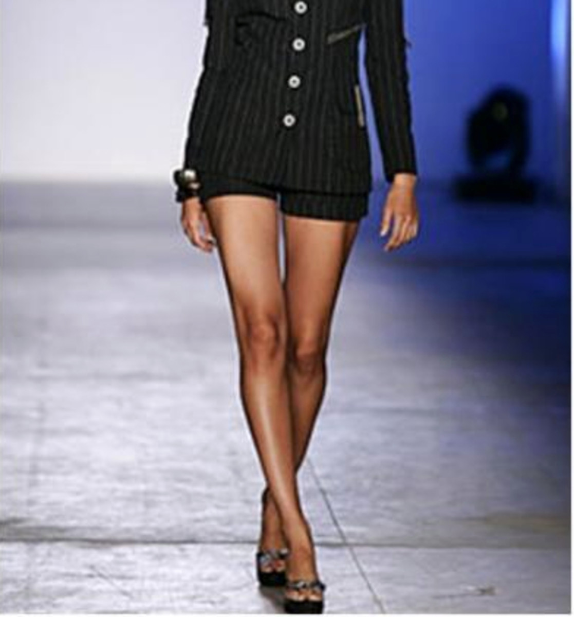 The angle walk is used by many models on the runway.  It is done by criss-crossing along an imaginary line on the runway which is also referred to as the catwalk.