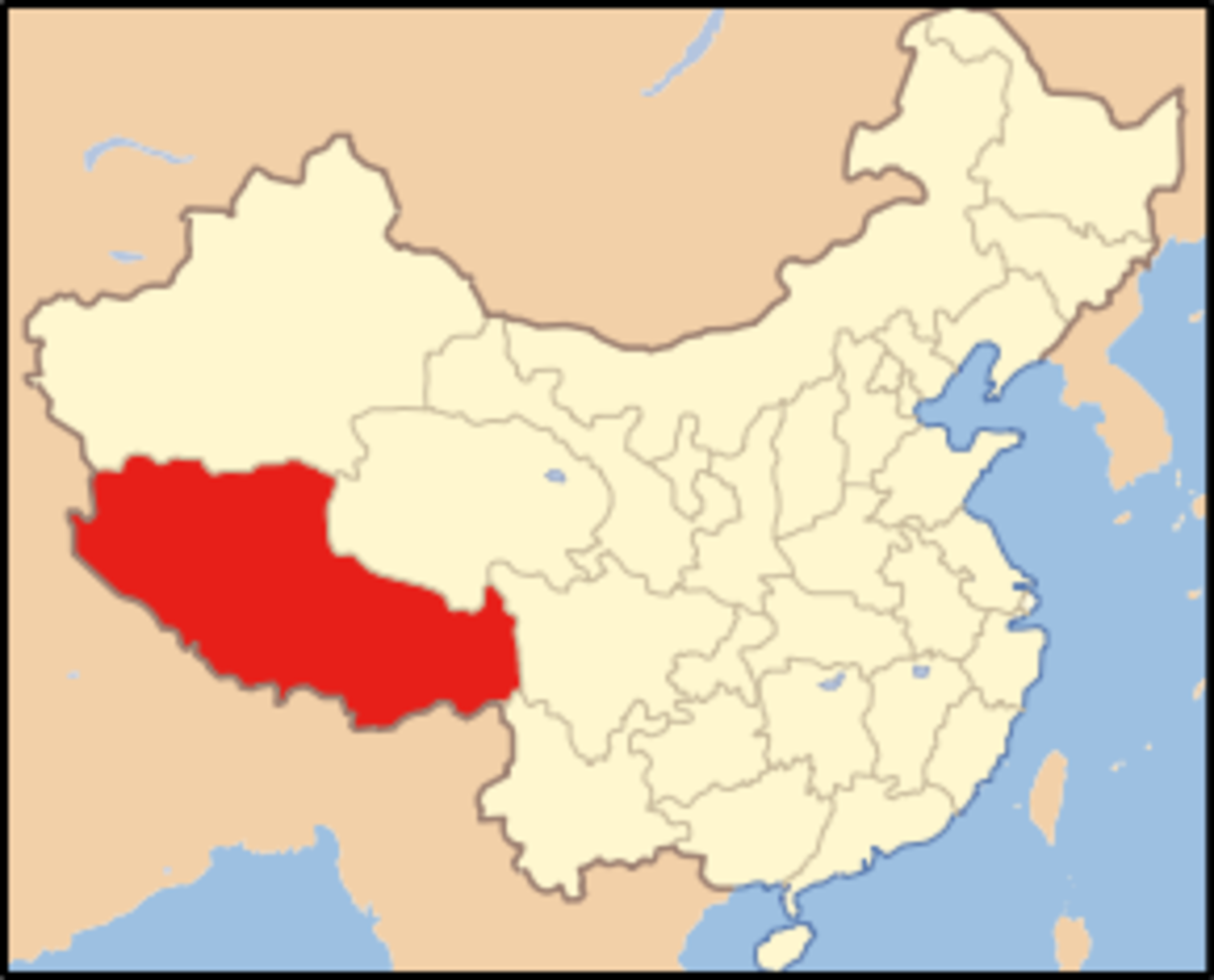 Current administrative map of China. Tibet is in red.