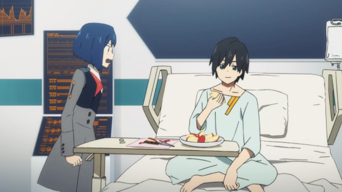 Ichigo, visiting Hiro in the infirmary.