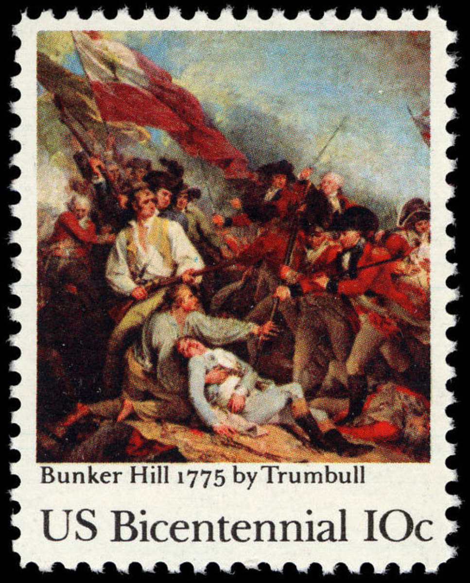 1975 10-cent stamp issued to commemorate the 200th anniversary of the Battle of Bunker Hill.
